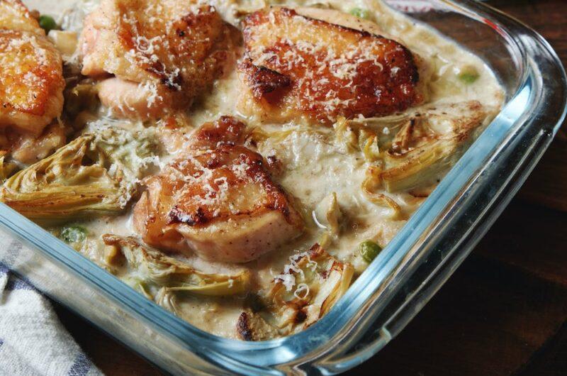 チキンのと缶詰アーティチョークのクリームオーブン焼き フライパン1個で作る
