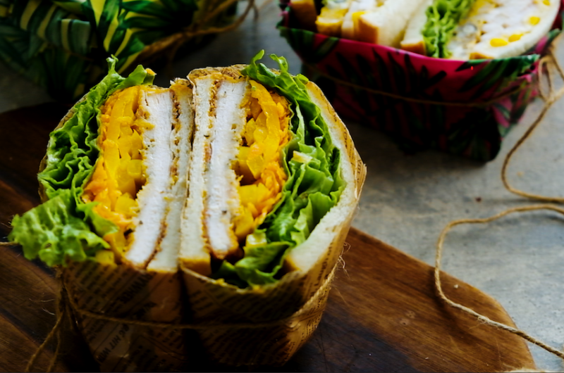 1日目、ハーブとチーズのチキンフライサンド 作り置き+余り野菜