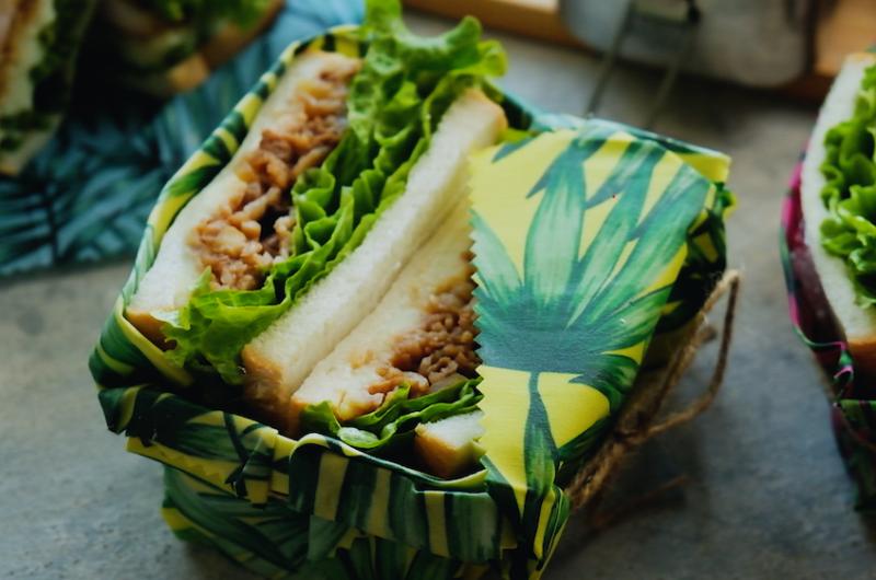 3日目、ポークチャップとマッシュポテトの大満足サンド 作り置き+レタスだけ 1週間分のお弁当サンドイッチアイディア