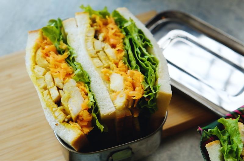 5日目、鶏ハムのカレーマヨサンド|作り置き活用|1週間分のお弁当サンドイッチアイディア
