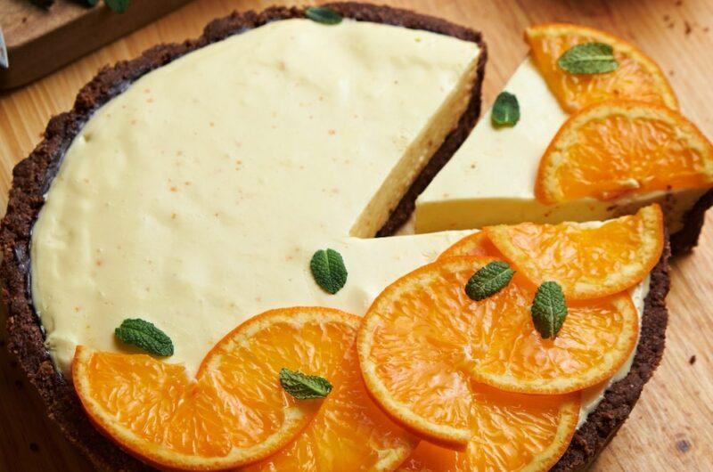 オレンジのレアチーズケーキタルト|サクサクのオートミールクラスト